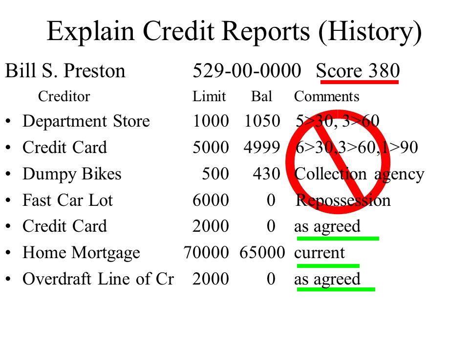 Explain Credit Reports (History)