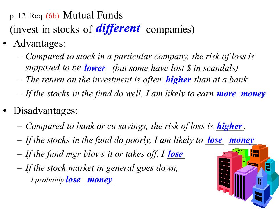 p. 12 Req. (6b) Mutual Funds (invest in stocks of _________ companies)