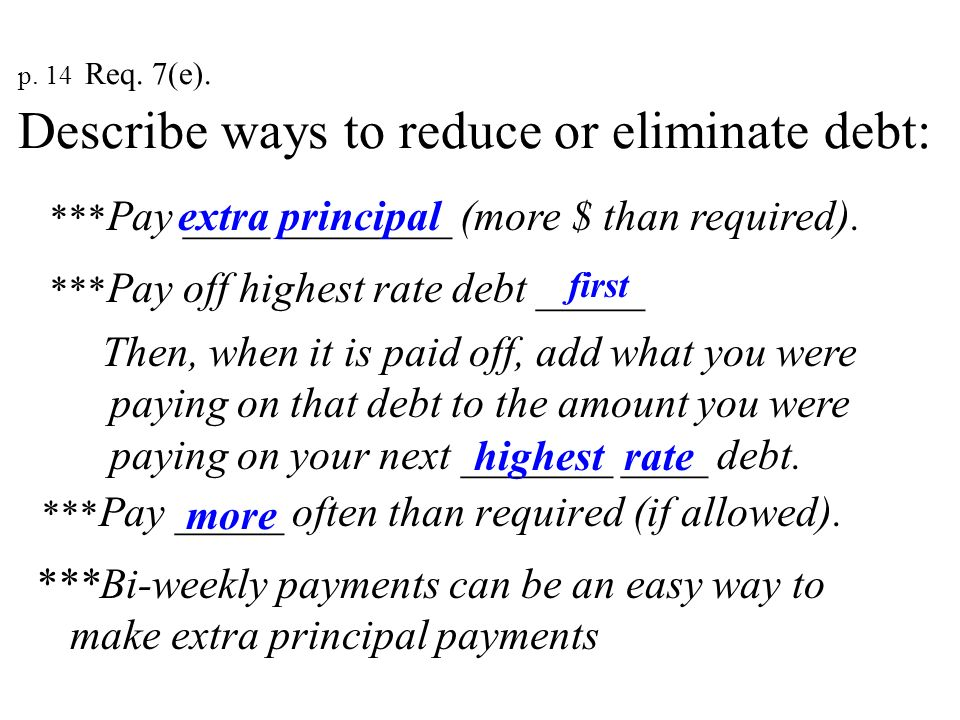 p. 14 Req. 7(e). Describe ways to reduce or eliminate debt: