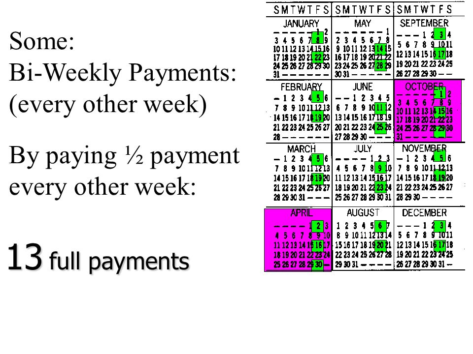 13 full payments Some: Bi-Weekly Payments: (every other week)
