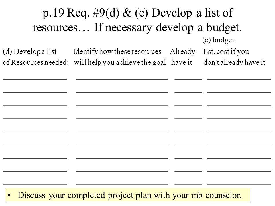 p.19 Req. #9(d) & (e) Develop a list of resources… If necessary develop a budget.