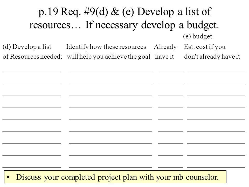 p.19 Req. #9(d) & (e) Develop a list of resources… If necessary develop a budget.