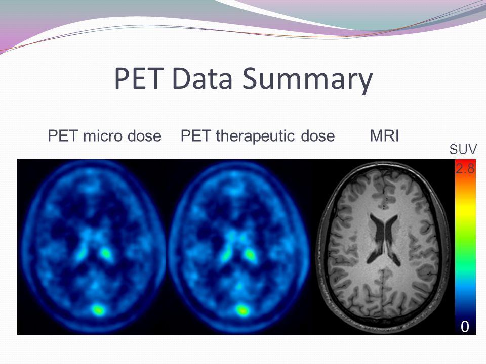 PET Data Summary PET micro dose PET therapeutic dose MRI SUV 2.8