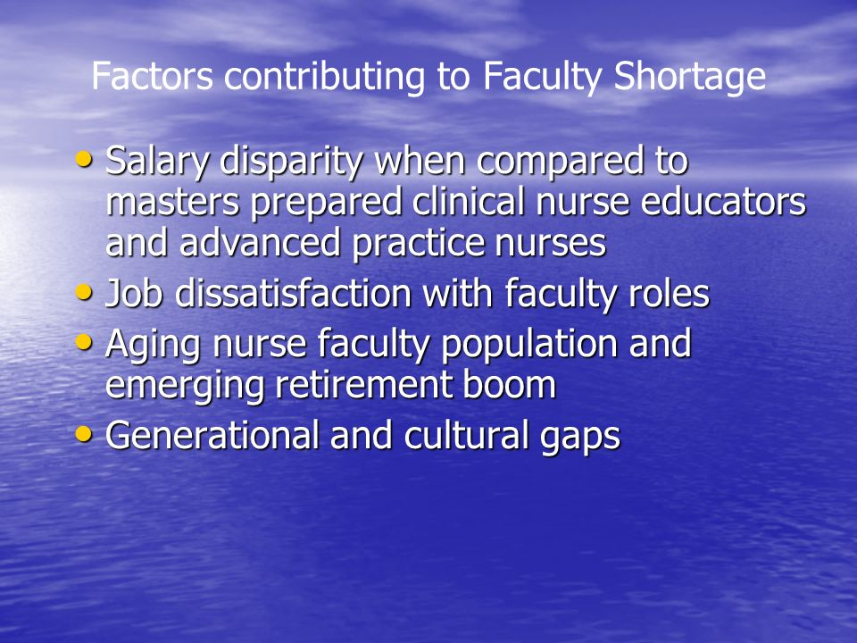Factors contributing to Faculty Shortage