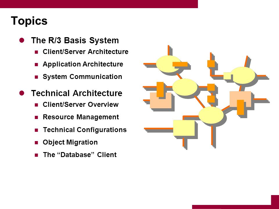 Topics The R/3 Basis System Technical Architecture