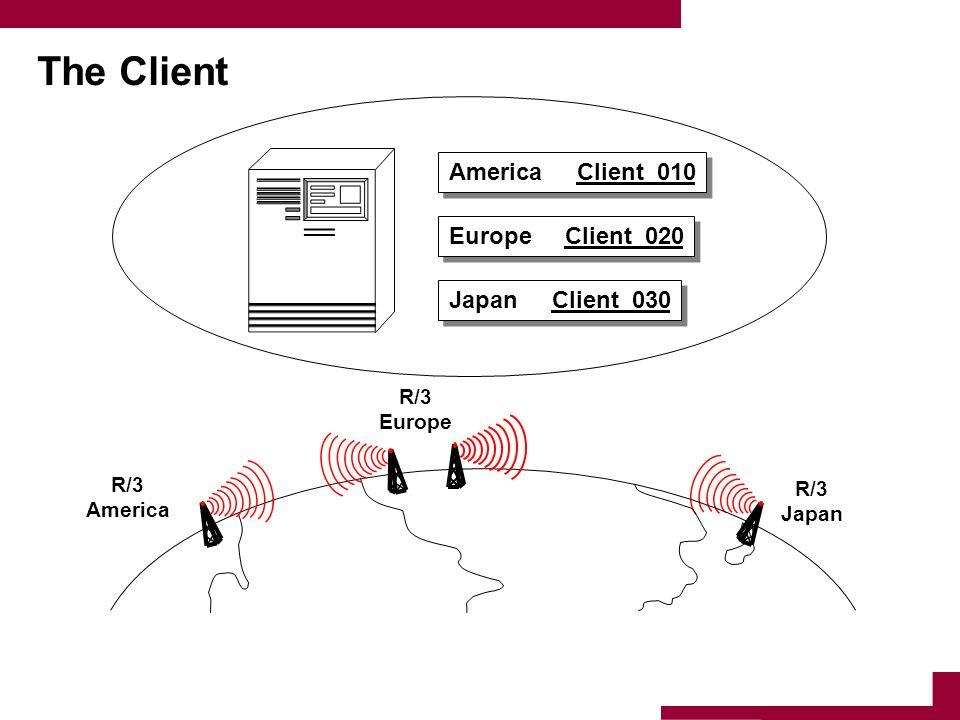 The Client America Client 010 Europe Client 020 Japan Client 030