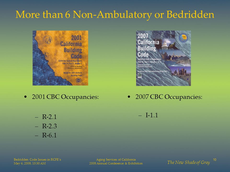 More than 6 Non-Ambulatory or Bedridden