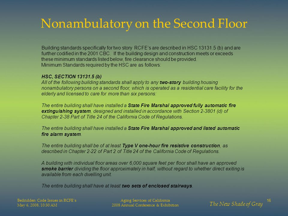 Nonambulatory on the Second Floor