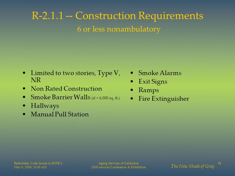 R-2.1.1 -- Construction Requirements 6 or less nonambulatory