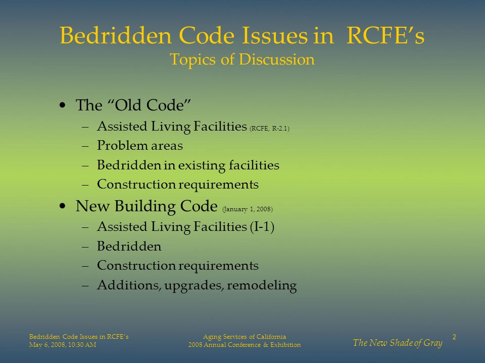 Bedridden Code Issues in RCFE's Topics of Discussion