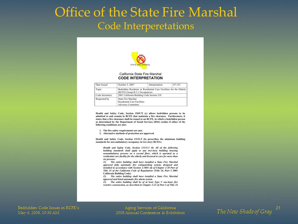 Office of the State Fire Marshal Code Interperetations