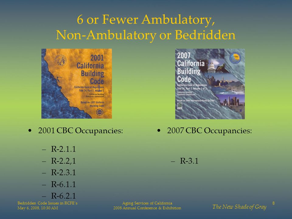 6 or Fewer Ambulatory, Non-Ambulatory or Bedridden