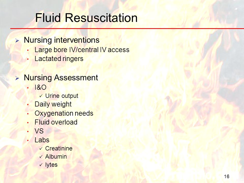 Fluid Resuscitation Nursing interventions Nursing Assessment