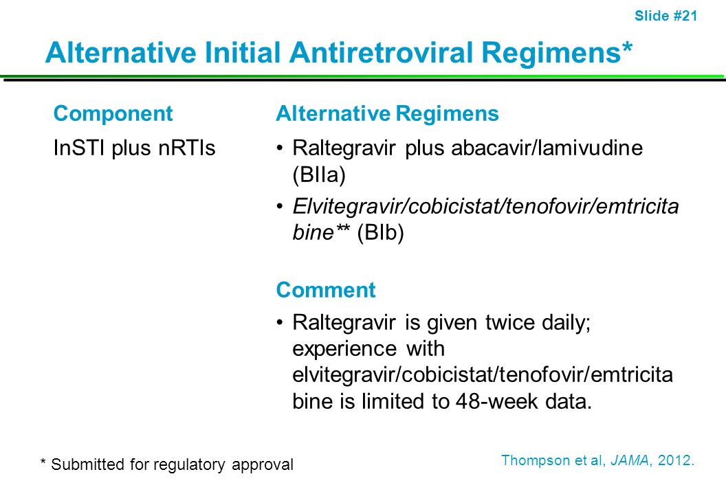Alternative Initial Antiretroviral Regimens*