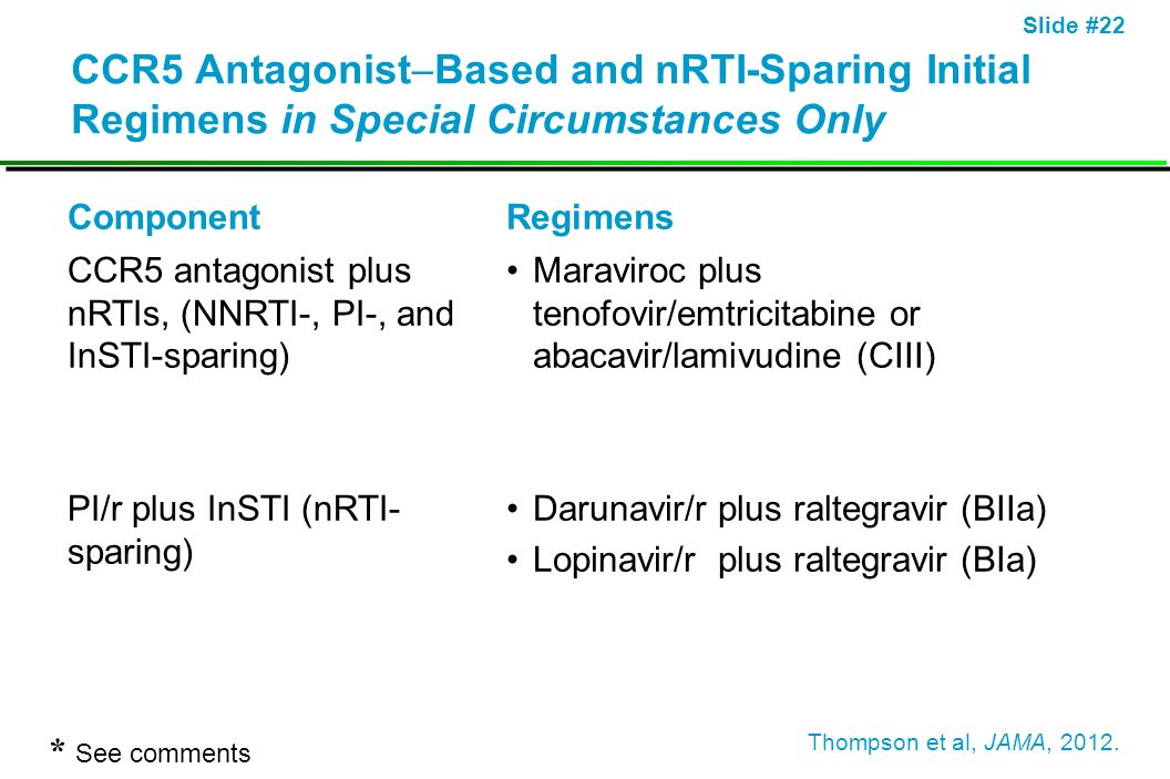 CCR5 AntagonistBased and nRTI-Sparing Initial Regimens in Special Circumstances Only