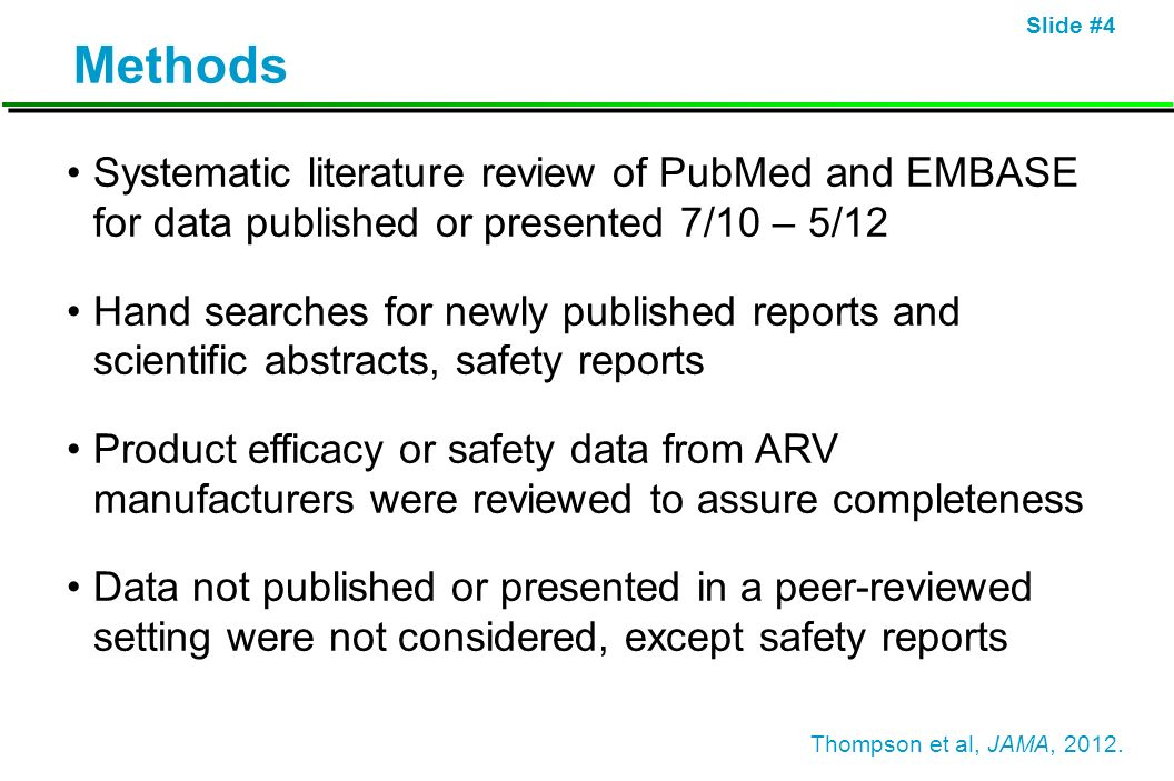 Methods Systematic literature review of PubMed and EMBASE for data published or presented 7/10 – 5/12.