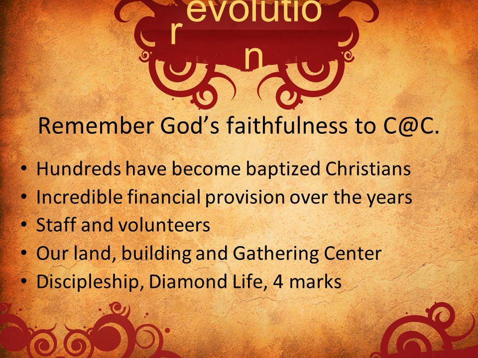 Remember God's faithfulness to C@C.