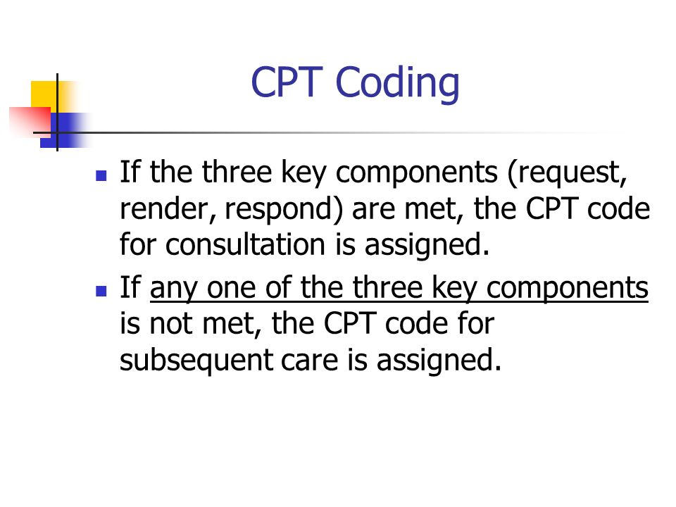 CPT CodingIf the three key components (request, render, respond) are met, the CPT code for consultation is assigned.