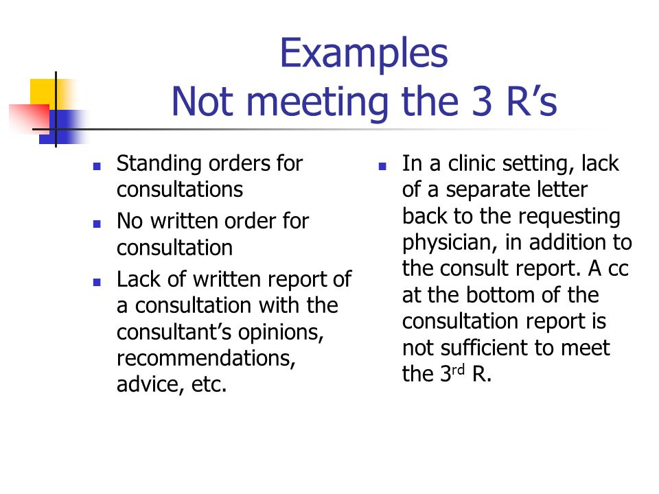 Examples Not meeting the 3 R's