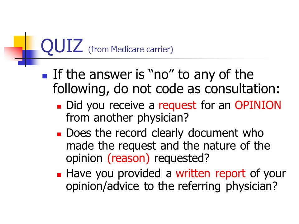 QUIZ (from Medicare carrier)