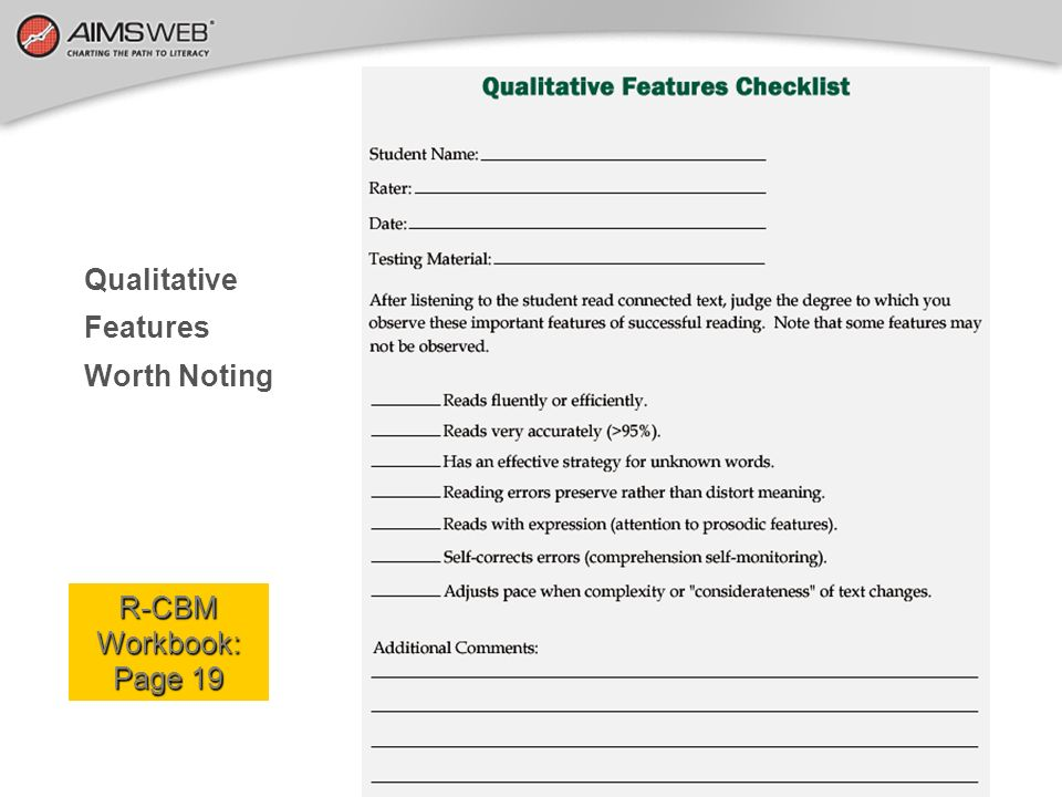 Qualitative Features Worth Noting R-CBM Workbook: Page 19