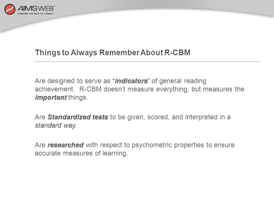 Things to Always Remember About R-CBM