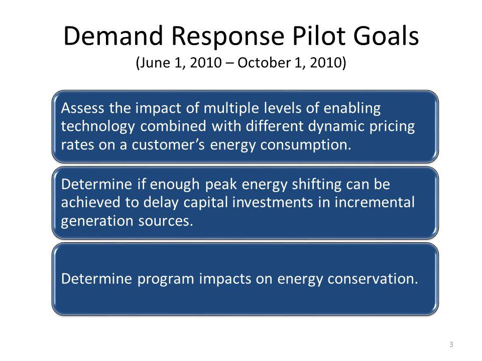 Demand Response Pilot Goals (June 1, 2010 – October 1, 2010)
