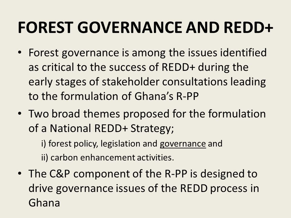FOREST GOVERNANCE AND REDD+