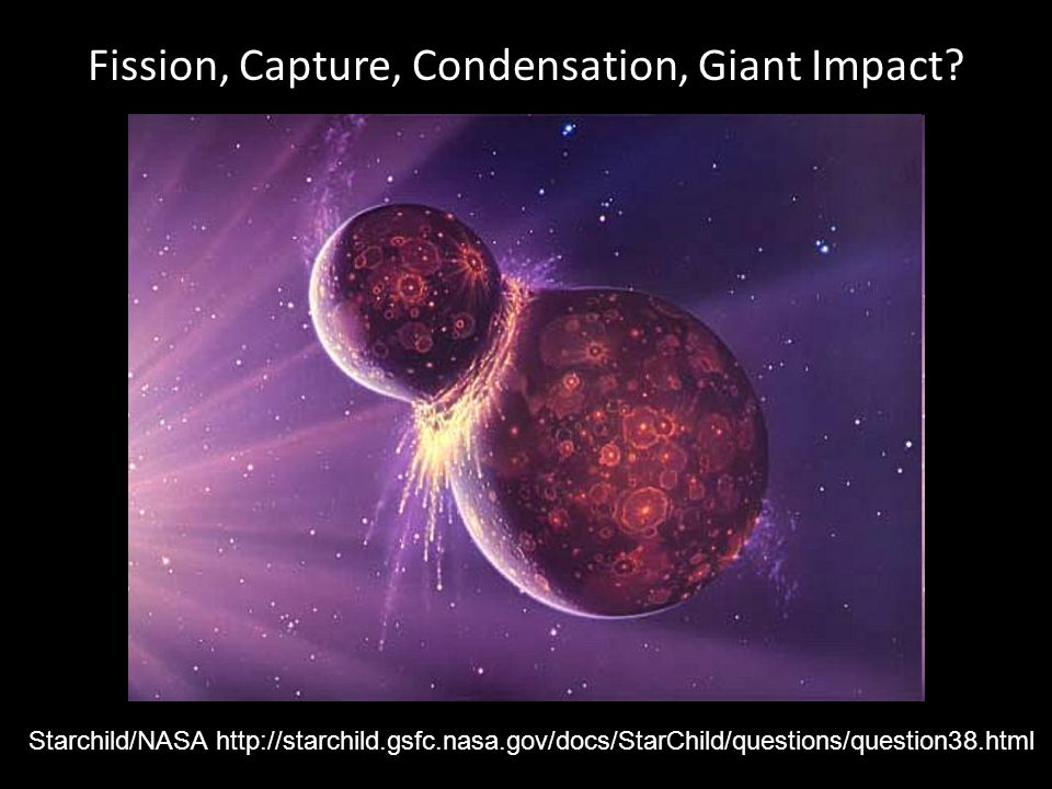 Fission, Capture, Condensation, Giant Impact