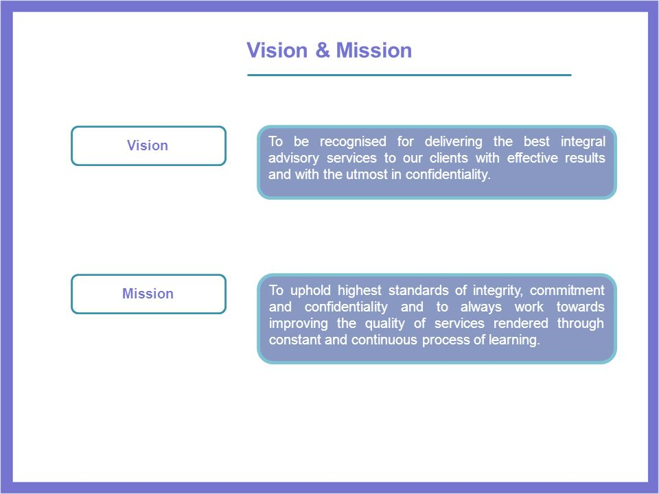 Vision & Mission Vision.