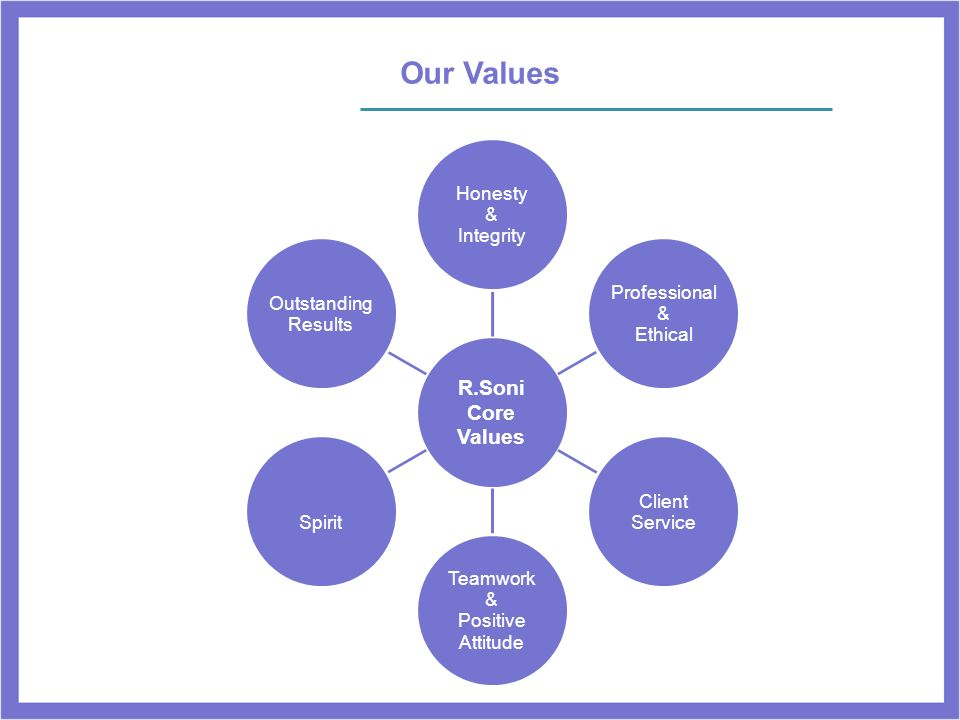 Our Values R.Soni Core Values Honesty Integrity & Professional Ethical