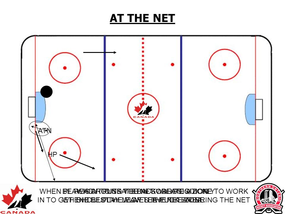 AT THE NETATN. HP. WHEN PLAY IS AROUND THE NET CREATE A ZONE TO WORK IN TO GET THE BEST VIEW OF THE PUCK ENTERING THE NET.
