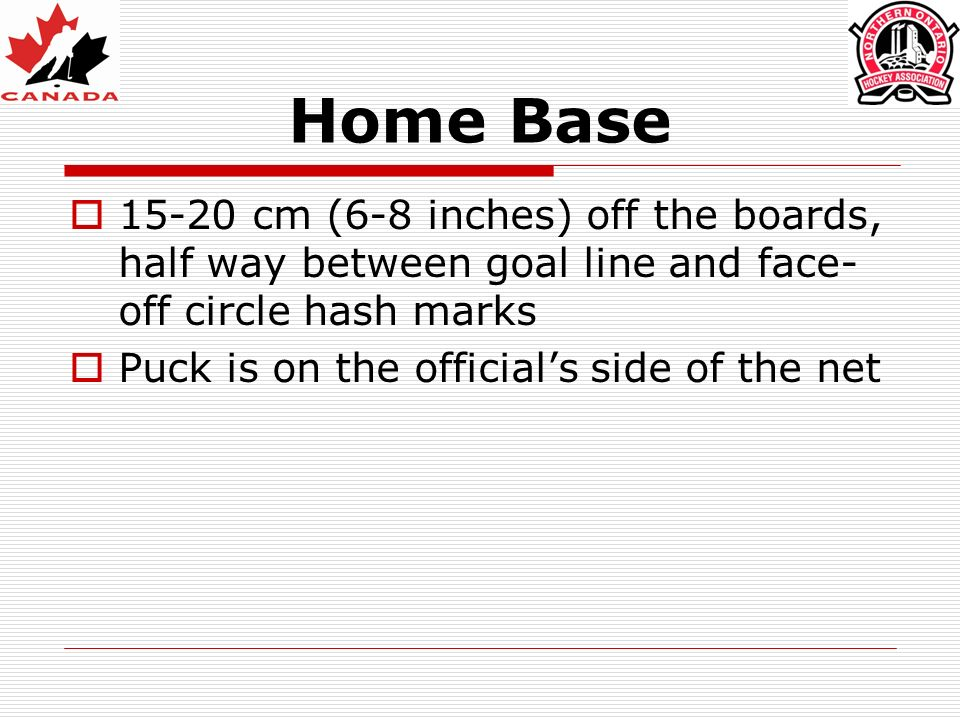 Home Base 15-20 cm (6-8 inches) off the boards, half way between goal line and face-off circle hash marks.