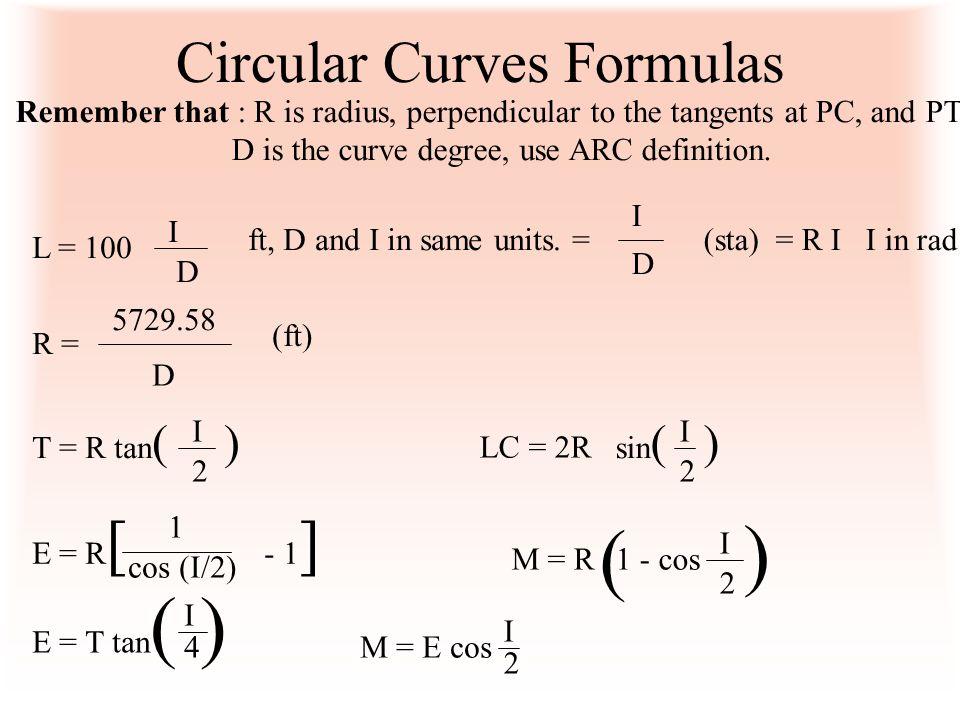 Circular Curves Formulas