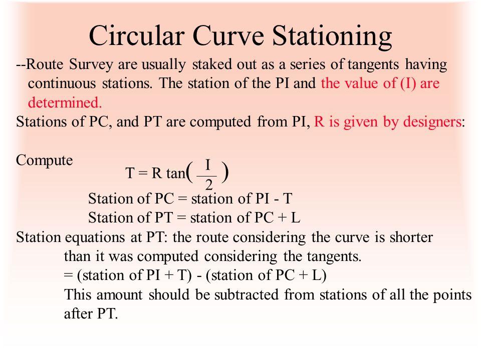 Circular Curve Stationing
