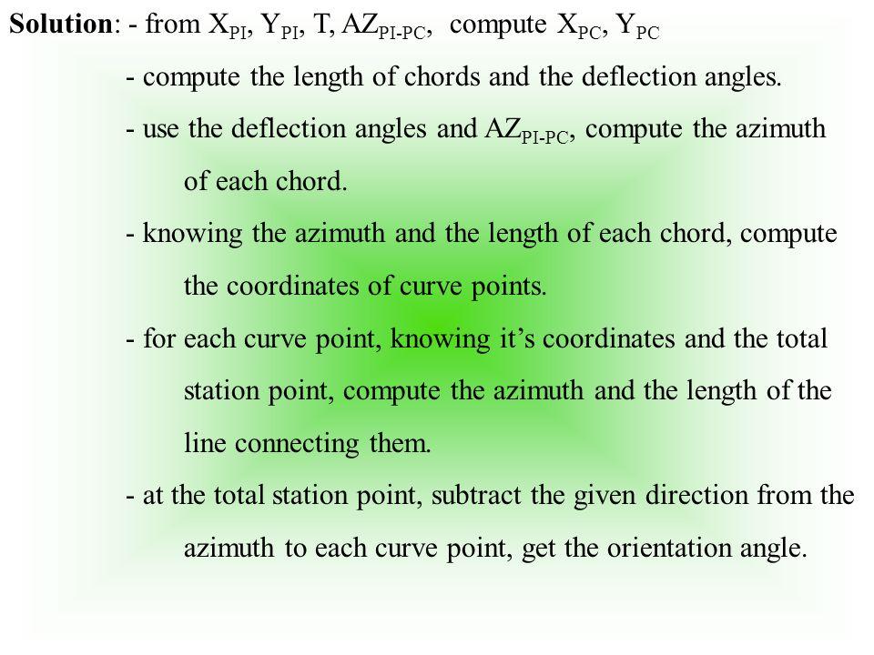 Solution: - from XPI, YPI, T, AZPI-PC, compute XPC, YPC