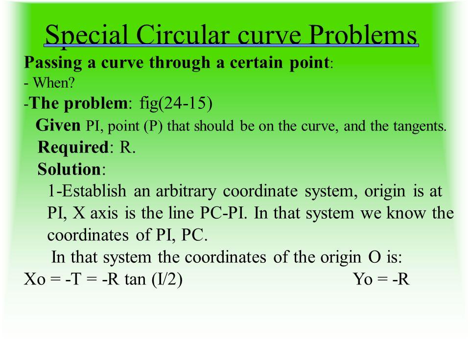 Special Circular curve Problems