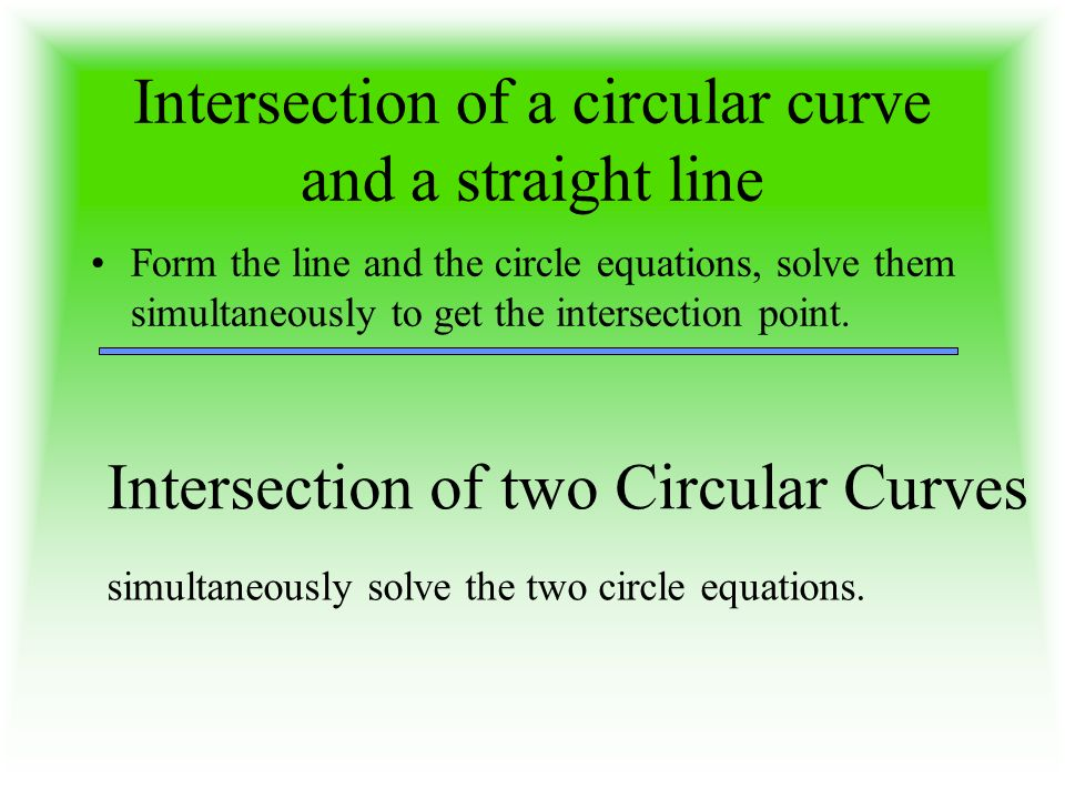 Intersection of a circular curve and a straight line