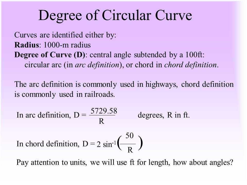 Degree of Circular Curve