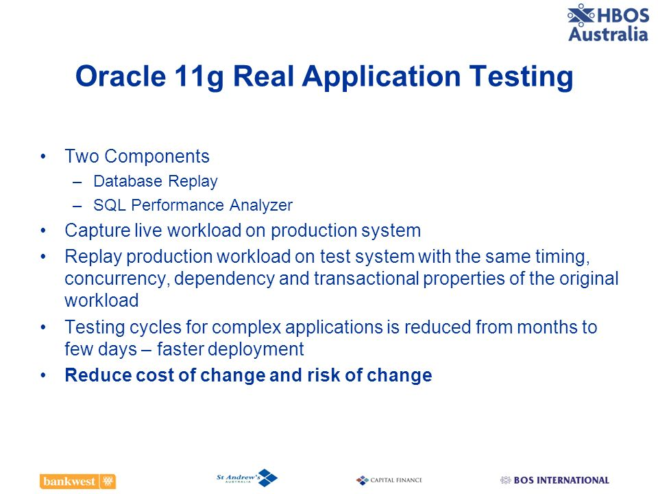 Oracle 11g Real Application Testing