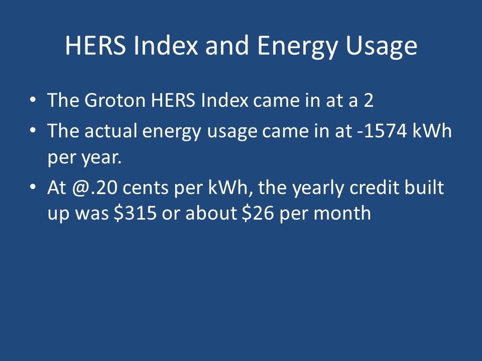 HERS Index and Energy Usage