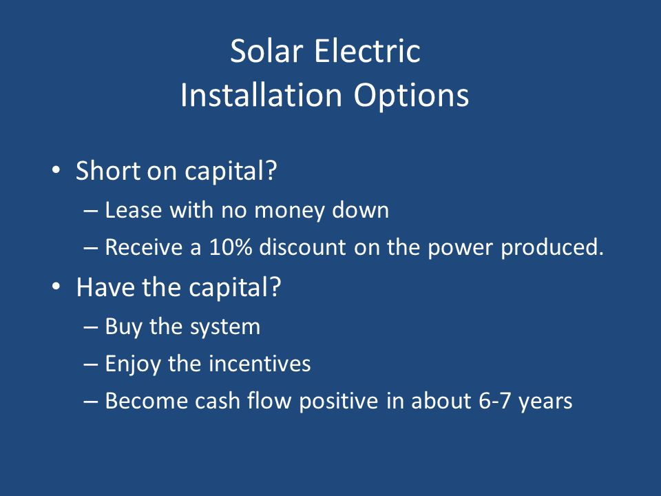 Solar Electric Installation Options