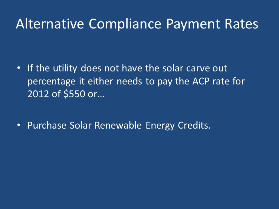 Alternative Compliance Payment Rates