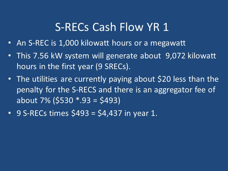 S-RECs Cash Flow YR 1 An S-REC is 1,000 kilowatt hours or a megawatt