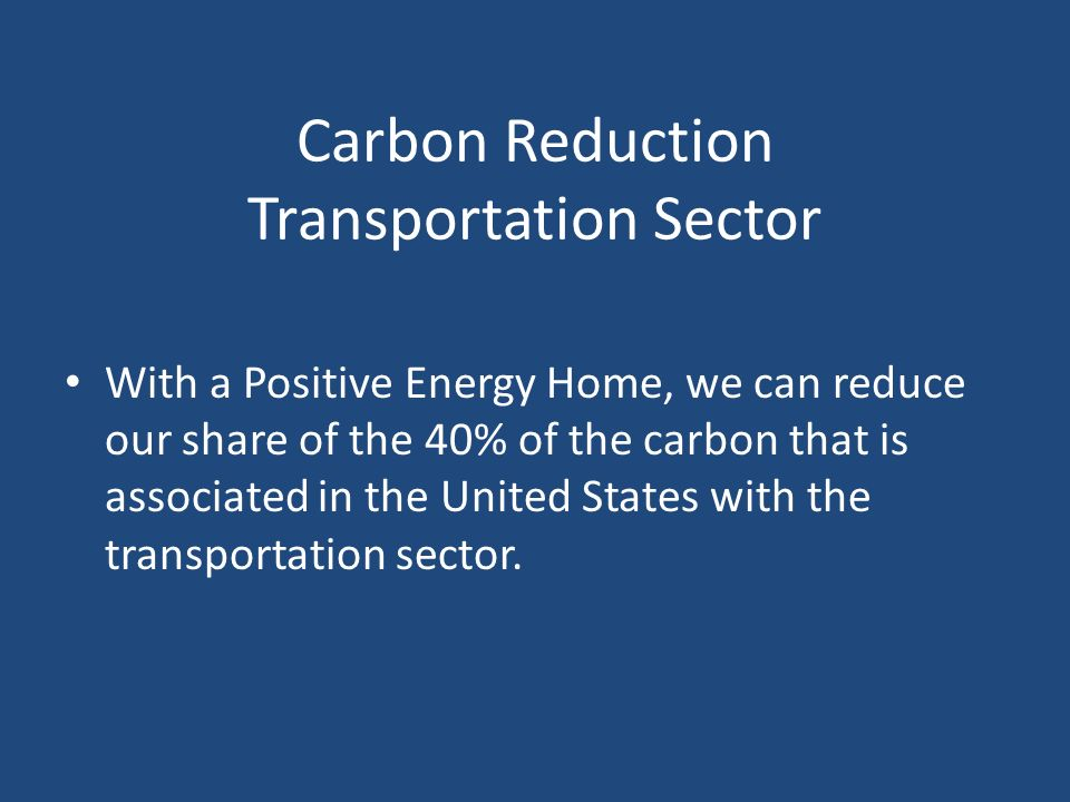 Carbon Reduction Transportation Sector