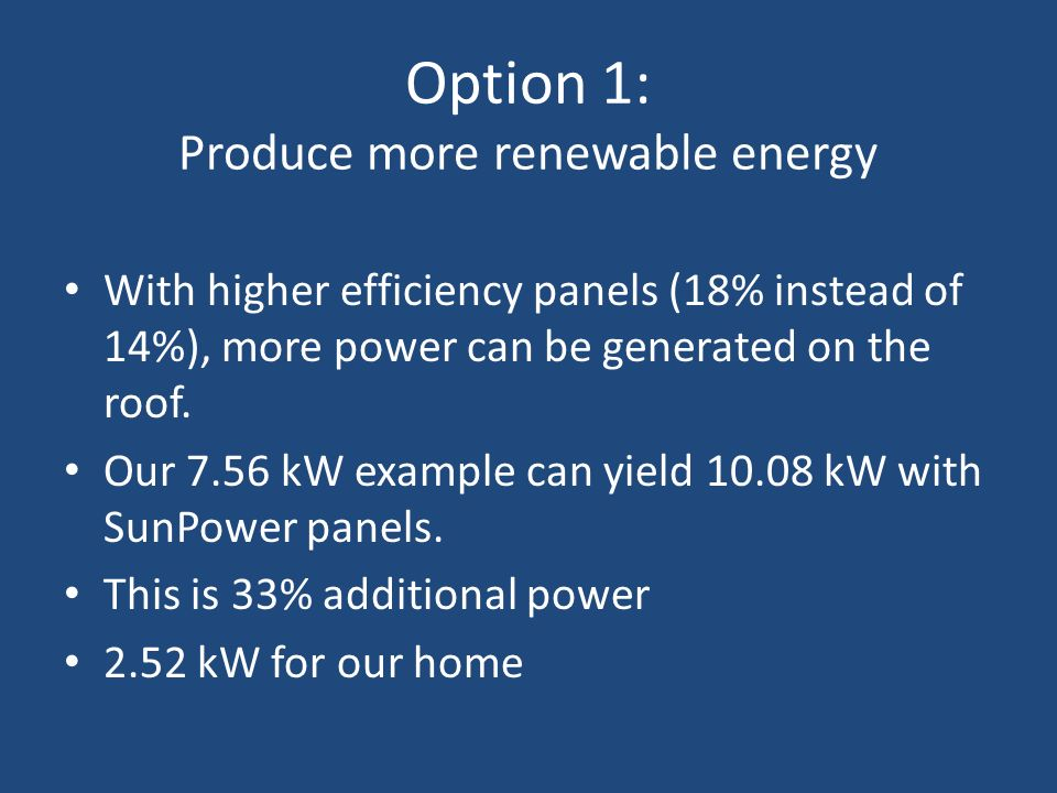 Option 1: Produce more renewable energy