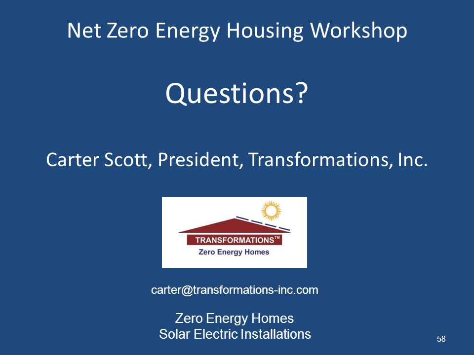 Net Zero Energy Housing Workshop