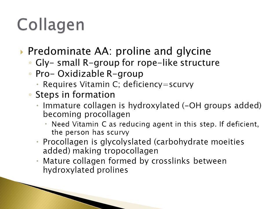 Collagen Predominate AA: proline and glycine
