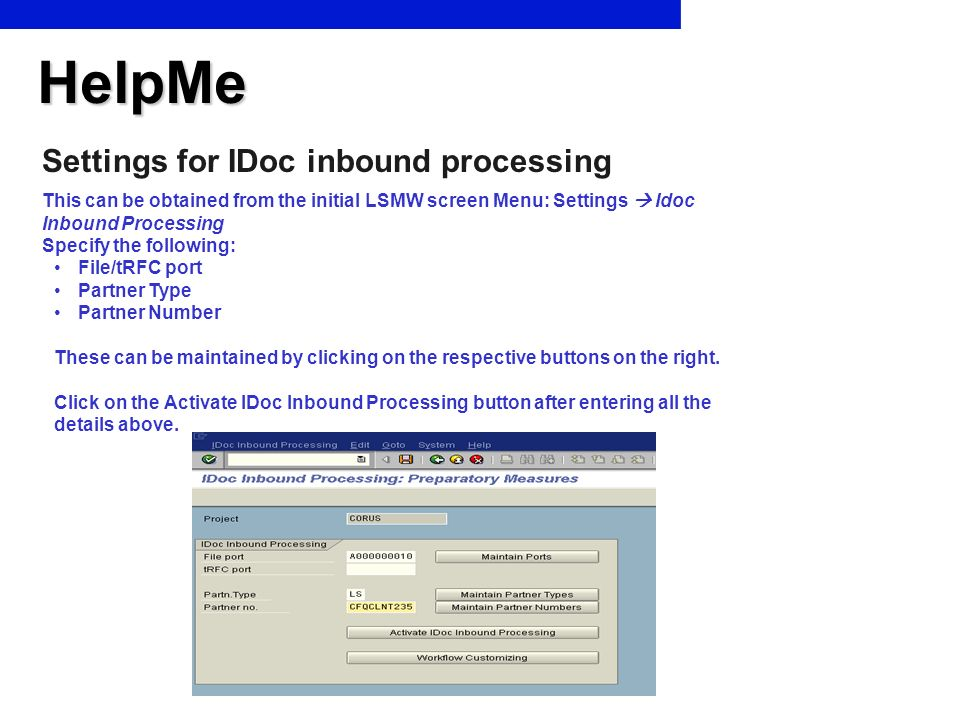 HelpMe Settings for IDoc inbound processing
