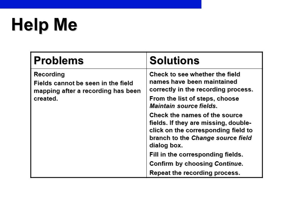 Help Me Problems Solutions Recording